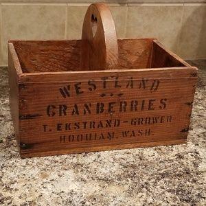 Vintage Rustic wooden fruit basket cranberries